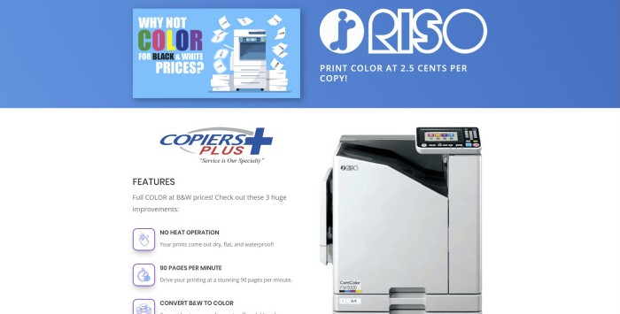 Click to see this landing page I created using Divi for Copiers Plus
