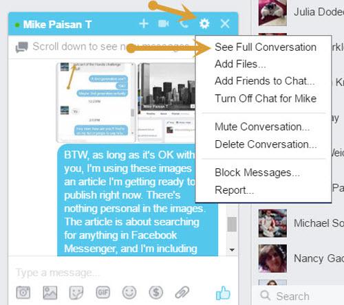 Facebook messenger search full conversation