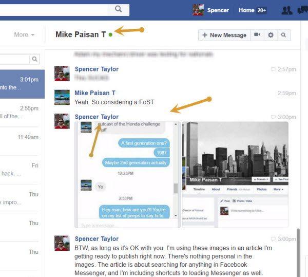 Facebook messenger search full conversation view