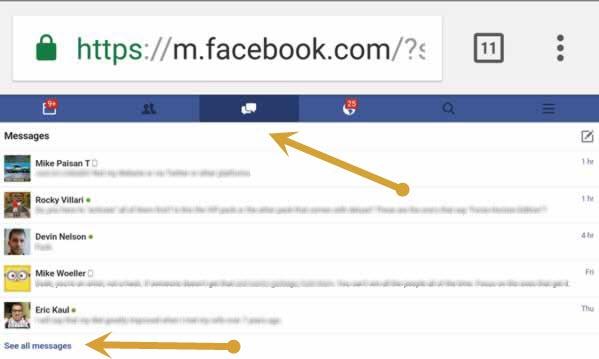 Facebook messenger search on Chrome Mobile browser request desktop version 2