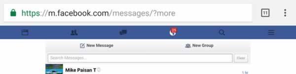 Facebook messenger search mobile