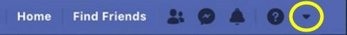 Facebook Classic top menu drop down arrow