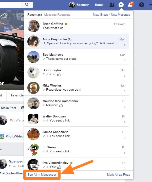 Search Facebook messages on desktop