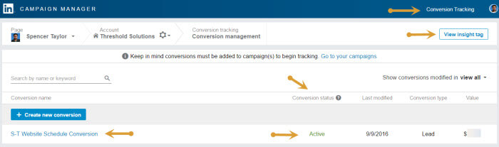 LinkedIn Conversion tracking add to campaign and check insight tag