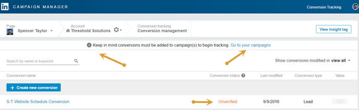 LinkedIn Conversion tracking before campaign setup