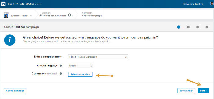 LinkedIn Conversion tracking link to your campaign