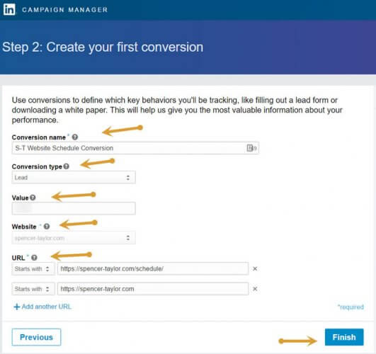 LinkedIn Conversion tracking setup details