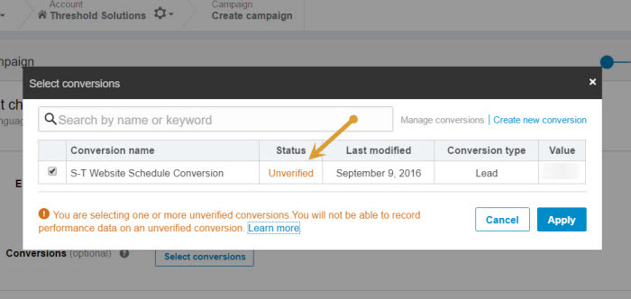 LinkedIn Conversion tracking unverified tag