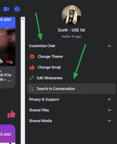 Select Customize Chat to display the Search In Conversation dialog
