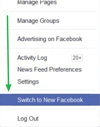 Switch to the New Facebook Design In the Menu