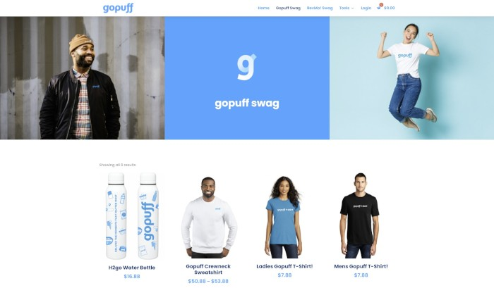 Using the Divi Theme and WooCommerce, I built this employee swag store for gopuff.