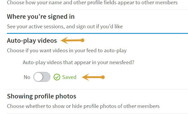 step 4 to LinkedIn auto play feature turn off